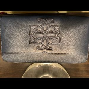 Navy Tory Burch Zipper Wallet